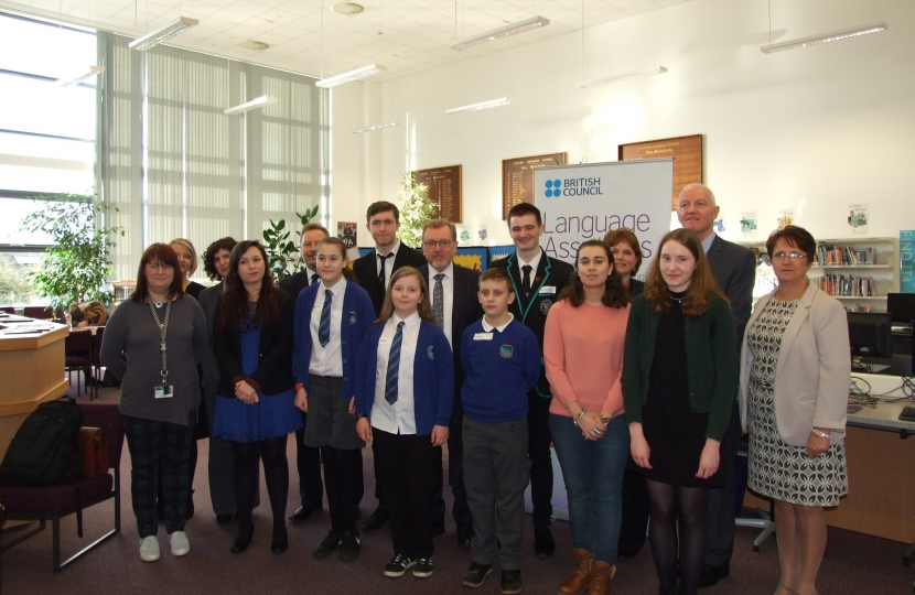 David at Lanark Grammar alongside pupils, staff and members of the British Council