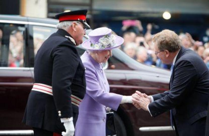 David welcoming Her Majesty to Peebles in 2013