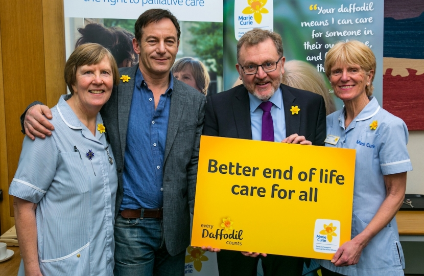 David promoting the daffodil appeal alongside actor Jason Isaacs and nurses Sally Monger-Godfrey and Lib Wolley