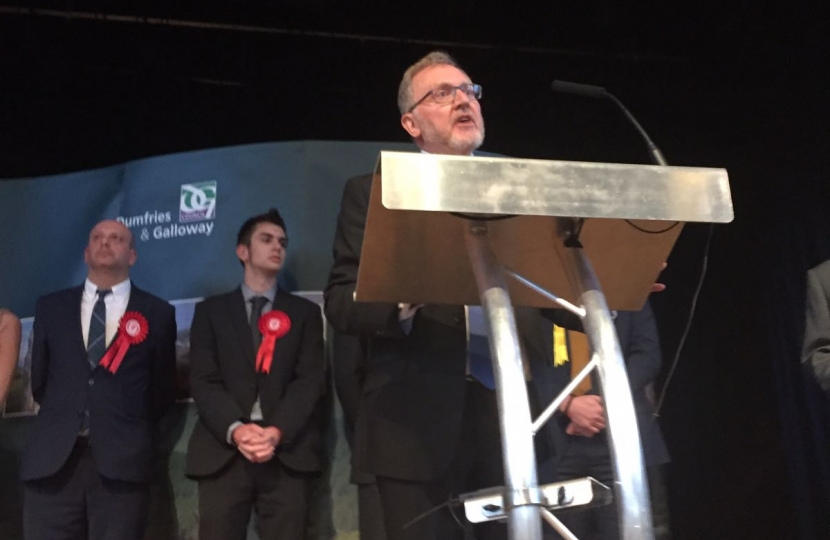 David Mundell on stage accepting his re-election as MP
