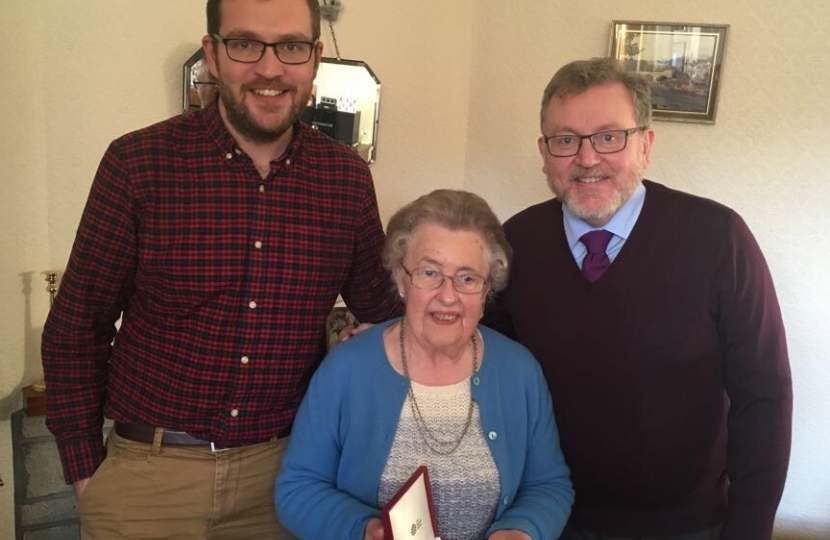 David and Oliver paid a visit to congratulate Grace Brown on her award