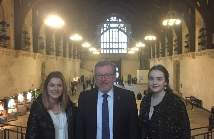 David with Georgie and Mia in Westminster Hall