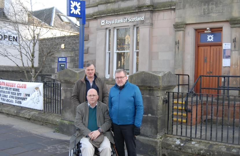 David Mundell with local councillors fighting to save RBS Biggar