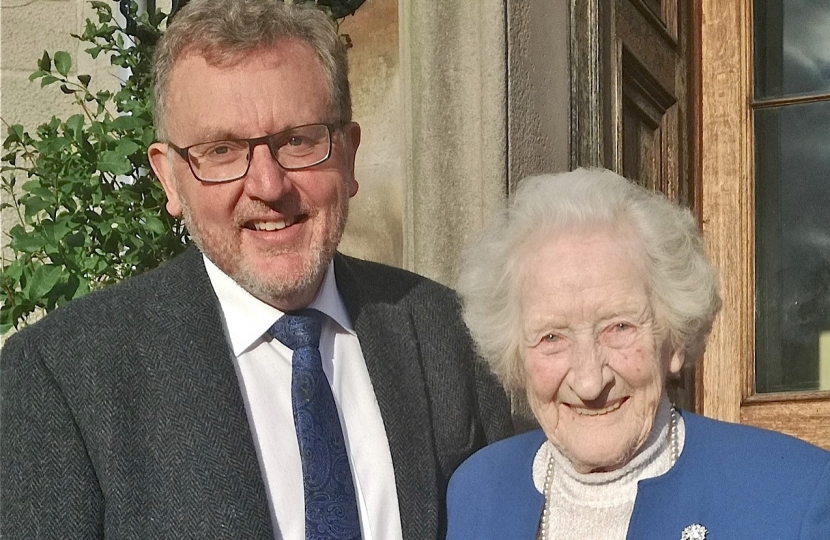 David Mundell with Mollie McIntosh, MBE, who has died at the age of 99