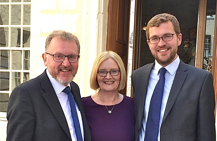former Scottish Parliament Presiding Officer Tricia Marwick, centre, with David Mundell, MP, left, and Oliver Mundell, MSP