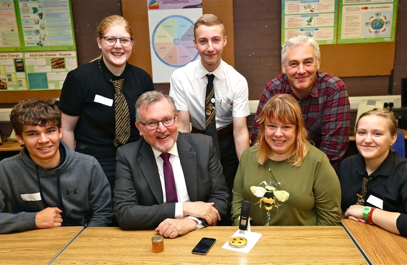 Dumfrieshire Clydesdale and Tweedale MP David Mundell, front, second from left, met staff and pupils from Annan Academy and Kelso High School as they worked on joint-research work. Also pictured, back, left to right, are: Emily Oakes, Isaac Carey and Ray Baxter. Front: Isaac Anderson, Lorraine Johnston and Heather Thompson