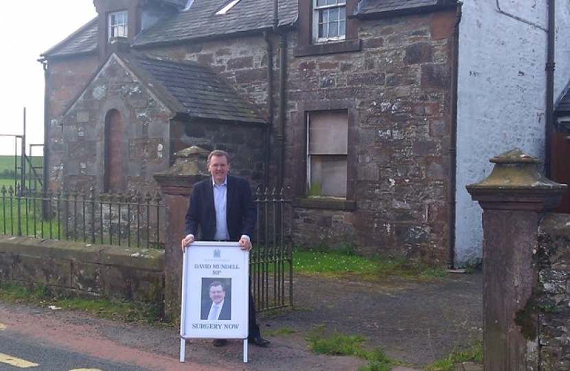 David Mundell MP in Torthorwald at the start of his Summer Surgery Tour 2011.
