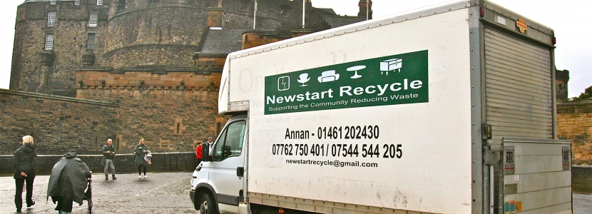 the Newstart Recycle truck at Edinburgh Castle after volunteers from the team assisted with the recent challenging Cycle to Syracuse run from Lockerbie to the Scottish captital